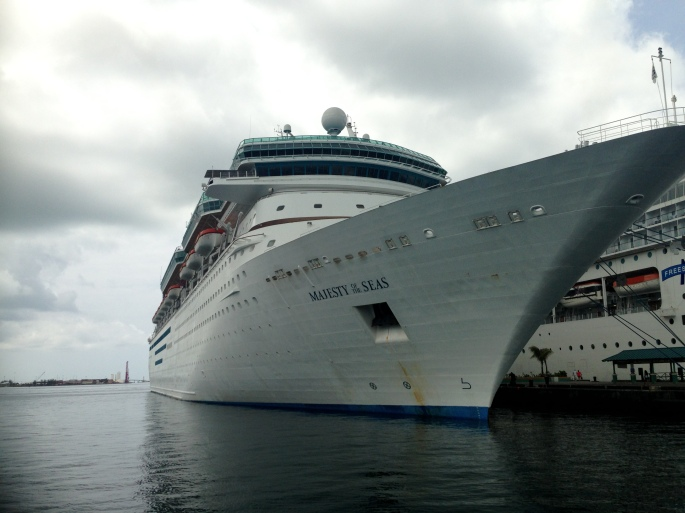 The Royal Caribbean Majesty of the Seas in port in Nassau, Bahamas.