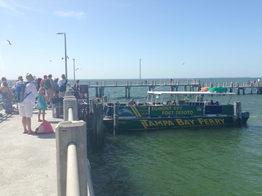 The Tampa Bay Ferry leaves from the main pier at Fort Desoto and is fairly well signposted.