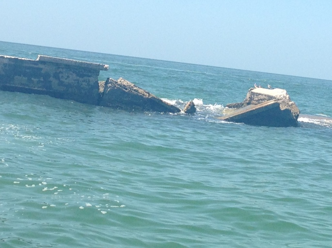 Ruins in the Gulf of Mexico at Egmont Key, St. Petersburg, Florida are perfect for snorkeling.