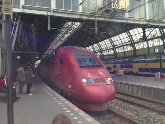 The Thalys train pulls into Amsterdam Central.