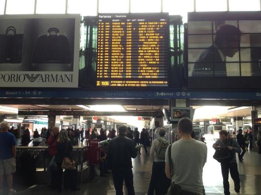 The destination board at Roma Termini.