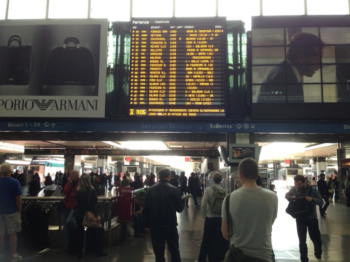 The destination board at Roma Termini.