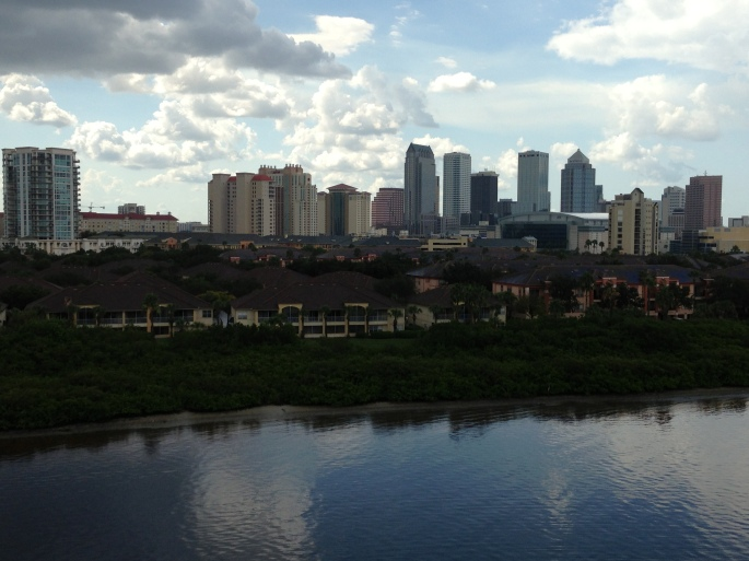 The Tampa skyline from the Carnival Paradise.
