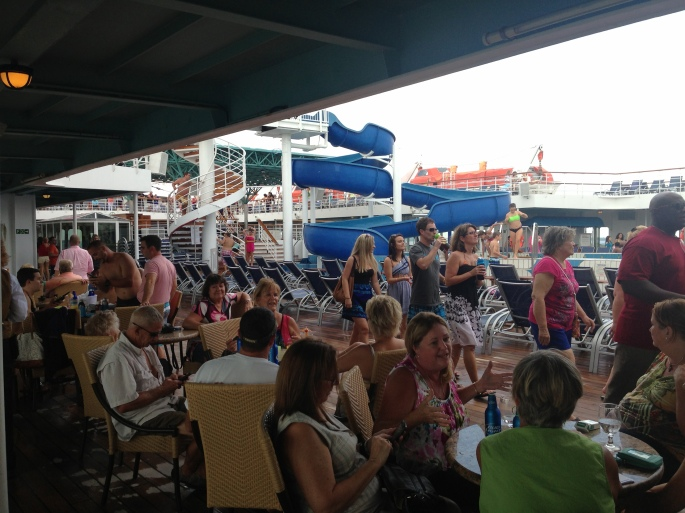 Life on deck of the Carnival Paradise by the pool was always fun and great for people meeting and people watching.