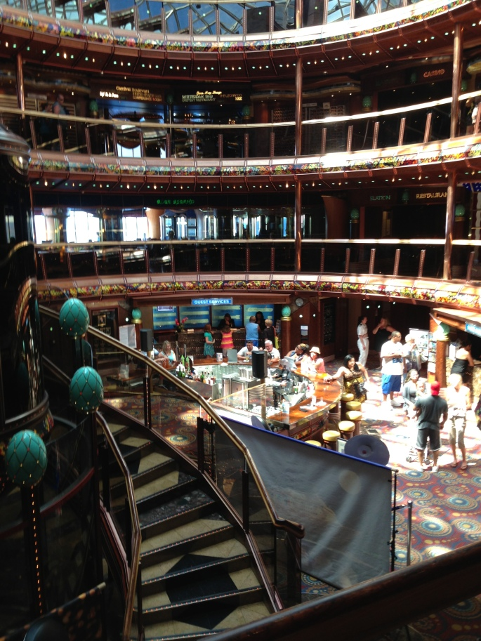The atrium of the Carnival Paradise is very nice and still in solidly good condition for the age of the ship.