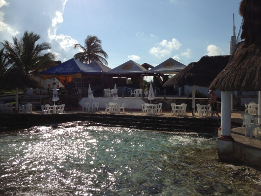 A view of the Play Corona Beach Club from the water in Cozumel, Mexico.