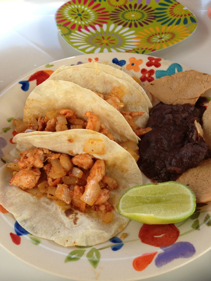 The chicken tacos are delicious at Playa Corona Beach Club in Cozumel, Mexico.