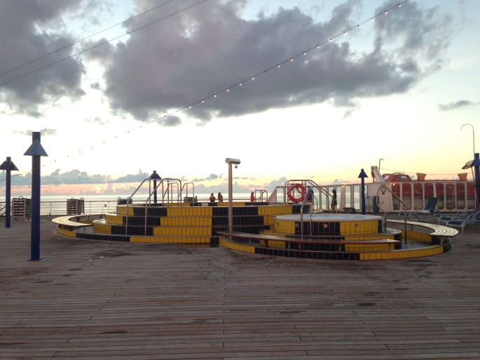 When the sun goes down it is very peaceful on the fantail deck of the Carnival Paradise.