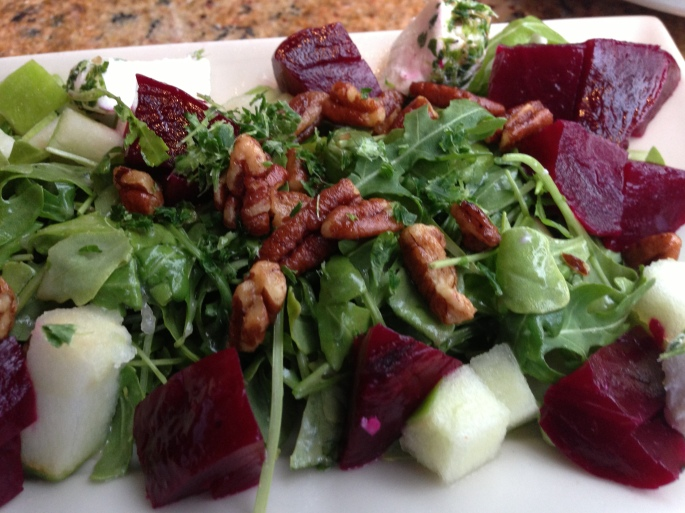 The beets and goat cheese salad was very good off the Skinnylicious menu at the Cheesecake Factory in Ft. Lauderdale.