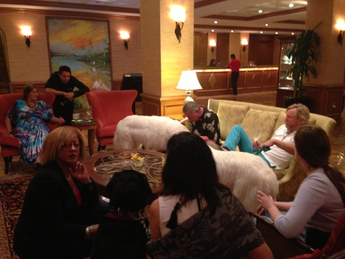 The lobby of the Riverside Hotel during the canine happy hour in Ft. Lauderdale.