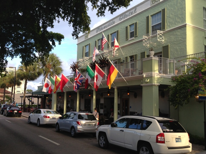 Exterior of the historic Riverside Inn, Fort Lauderdale, Florida.