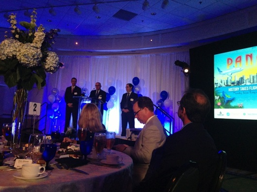 Luncheon at the Marriott at TPA (Tampa International Airport) celebrating the new service to/from Panama with COPA Airlines.  COPA CEO Pedro Heilbron is on stage on the left.