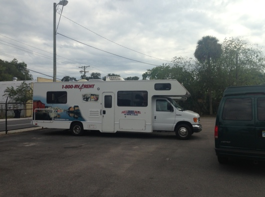 Here is the side of one of the units we saw at the Tampa location where we will drop off our RV.  This is the same as the one we will be renting on the one way special, except that ours will be new.