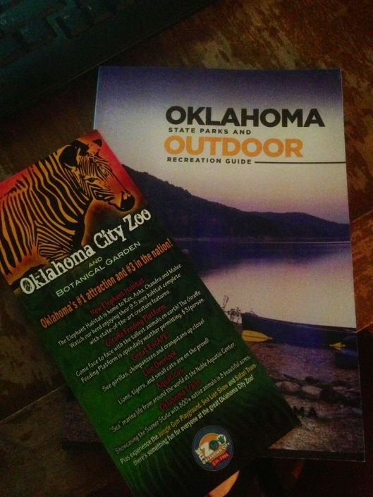 The Oklahoma City Zoo rack card along with a nice and comprehensive book on outdoor activities from the State of Oklahoma.