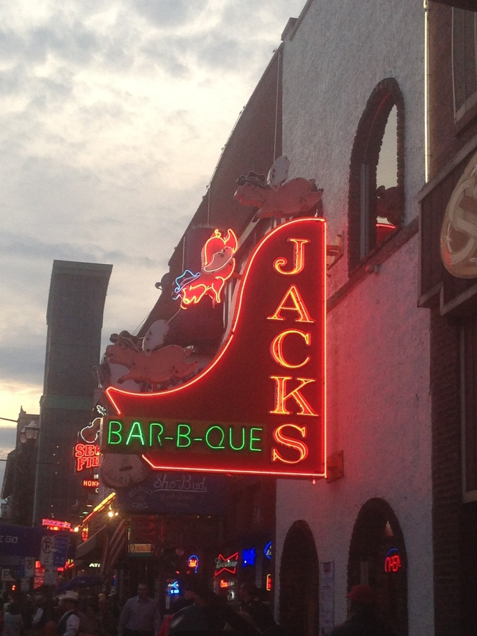 Jacks Bar-B_Que neon sign on Broadway, Nashville, Tennessee.