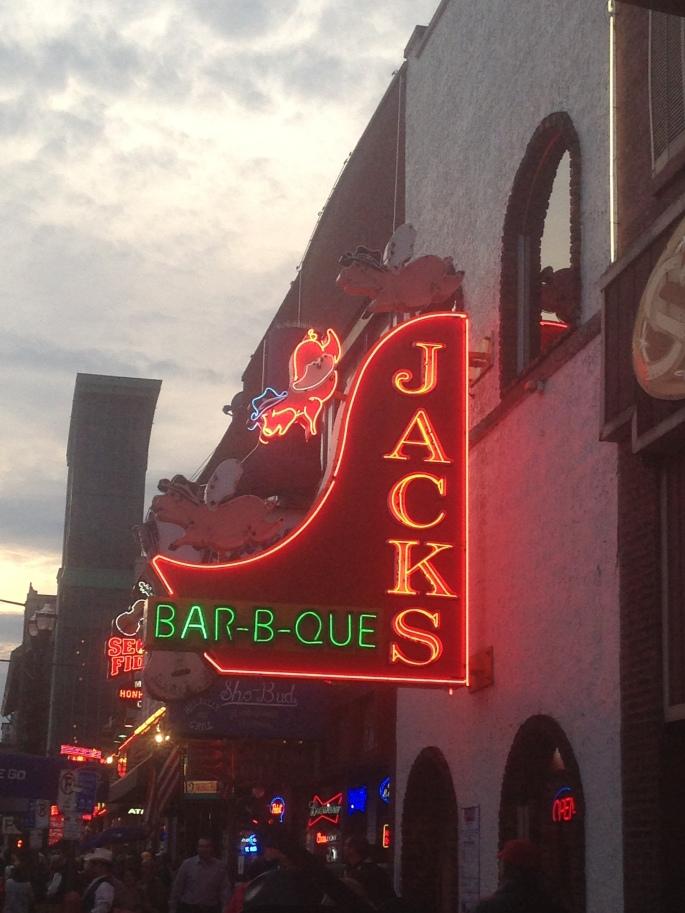 Jacks Bar-B_Que neon sign on Broadway, Nashville, Tennessee.