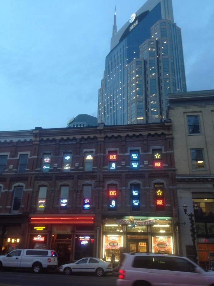 There really is quite an abundance of neon on Broadway in downtown Nashville.  Even in the windows.