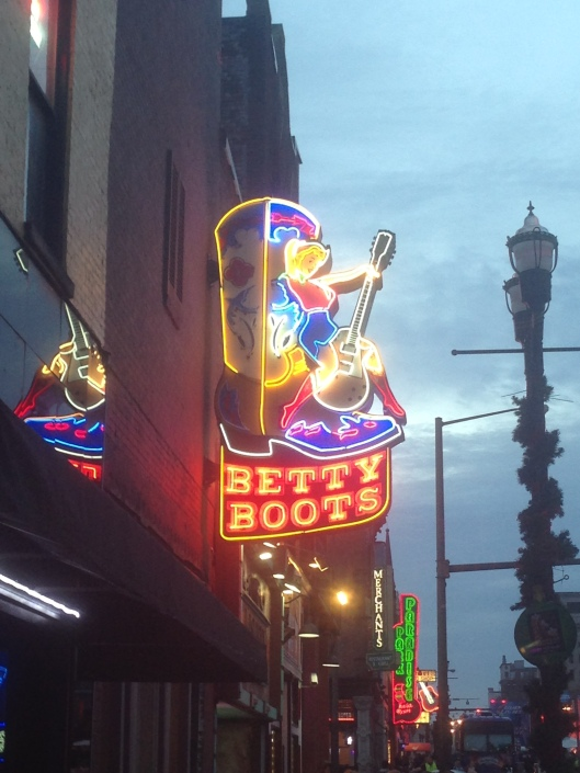 Betty Boots neon sign on Broadway in downtown Nashville, Tennessee.