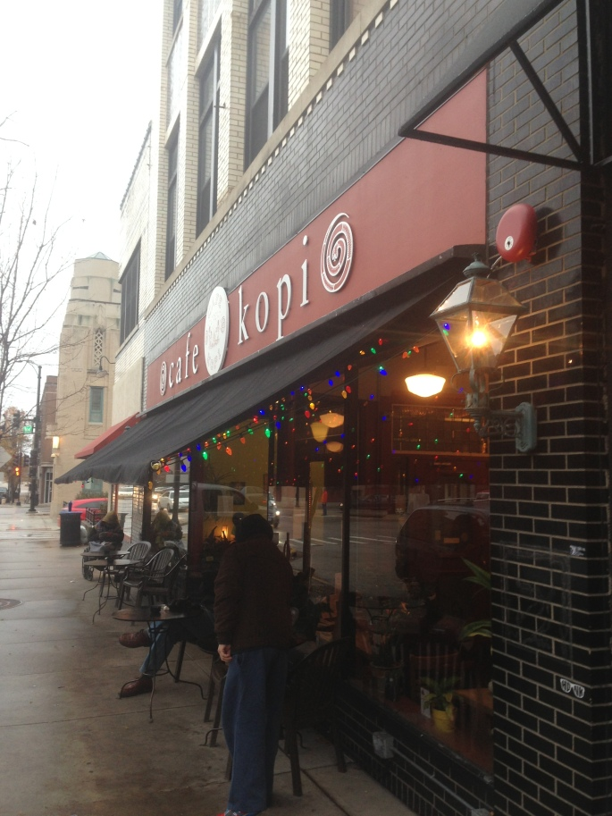 The front of Cafe Kopi on Walnut Street in downtown Champaign Illinois.