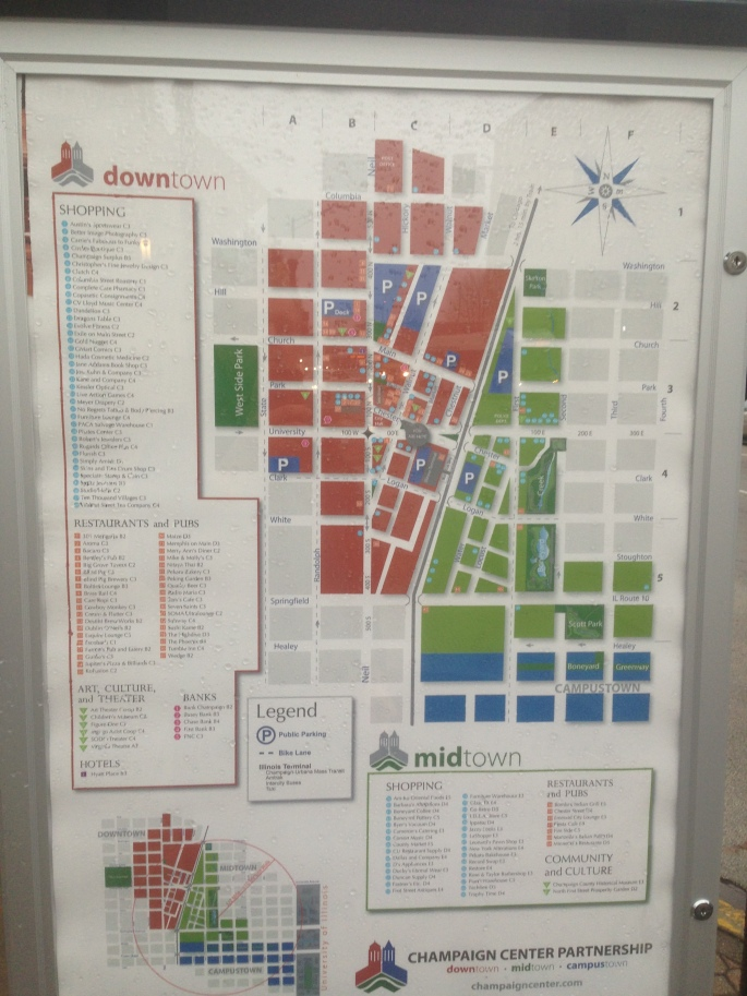 Downtown Champaign is filled with easy to locate maps showing the locations of all the highlights.