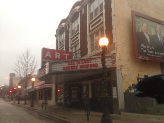 The facade of the art house cinema Art Theater in downtown Champaign, Illinois