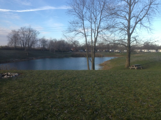 The lake at the Lake Haven RV Resort in Indianapolis.  Convenient to expressways and truck stop.
