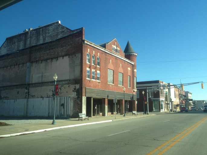 Main Street in the Indiana town of Knightstown's historic district.