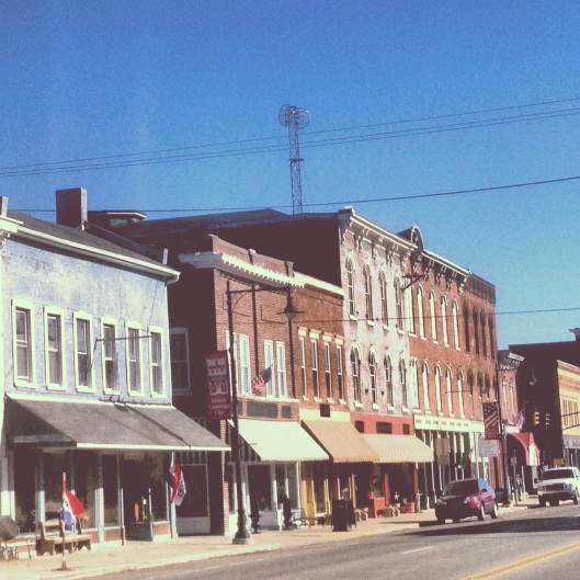 The historic Main Street in downtown Cambridge City, Indiana.