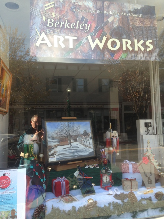 There was an arts scene downtown Martinsburg and this display is from the Berkeley County Arts Council.