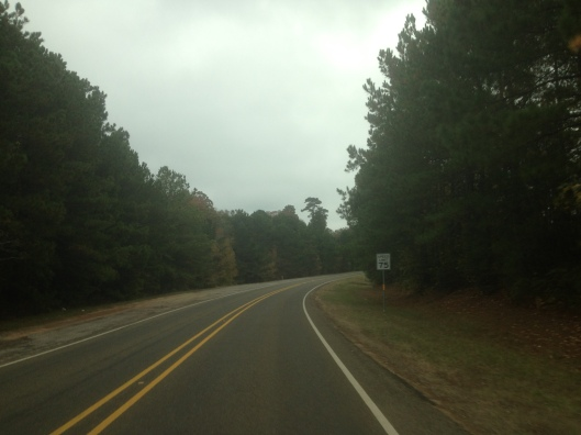 Two lane country road in Texas?  Well of course, it is legal to go 75 miles per hour, even around turns.