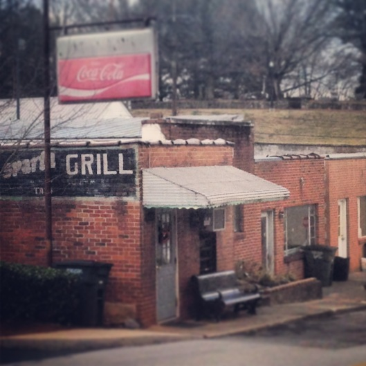 A view down the hill at the Sparta Grille in downtown Sparta, Tennessee.