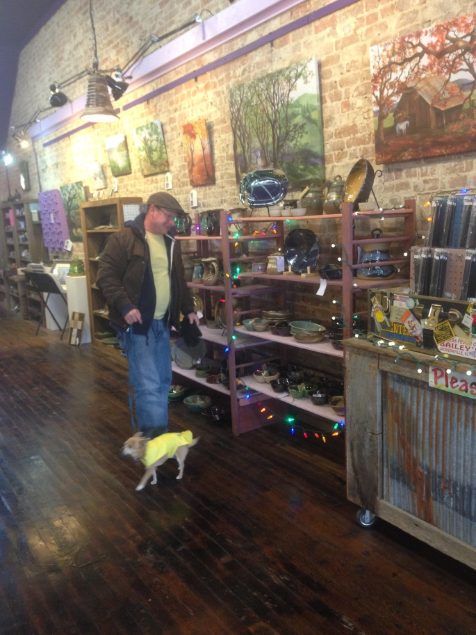 The Fragrant Mushroom in Sparta, Tennessee is filled with lots of great merchandise including locally created pottery.  And it is dog-friendly!