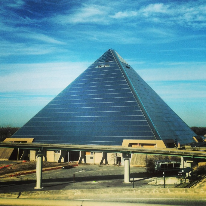 Cruising along the I-40 towards Arkansas you pass the Pyramid in Memphis, Tennessee.