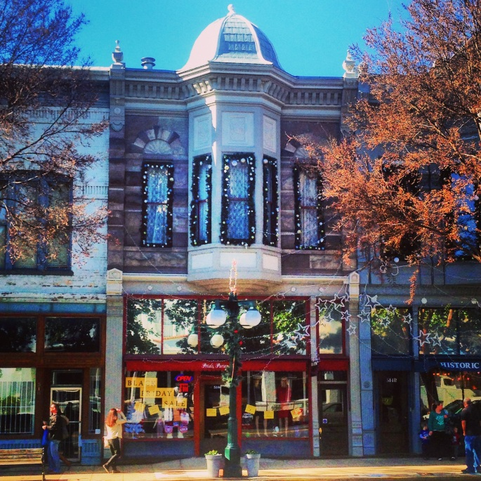 Great little shops are tucked into beautiful historic buildings in a park-like setting in downtown Hot Springs, Arkansas.
