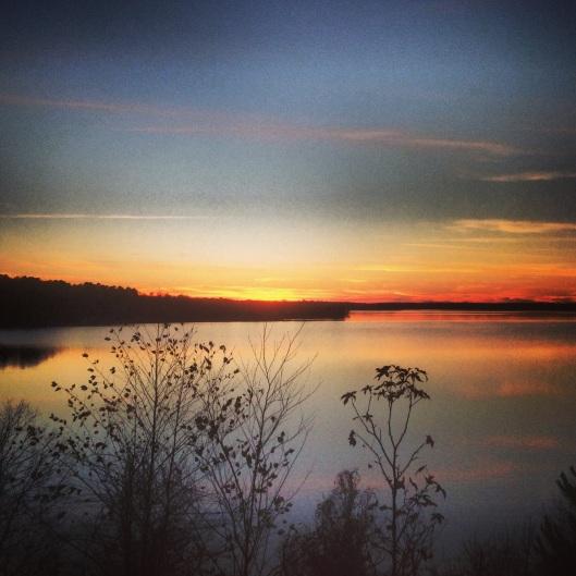 Sunset over Wright Patman Lake at the Atlanta State Park in Atlanta, Texas.