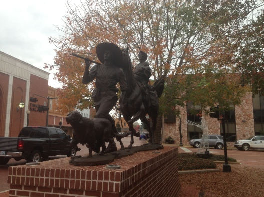 Just outside the visitors center is this bronze statue in Nacogdoches, Texas.
