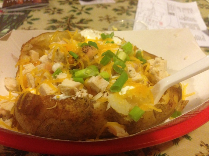 An East Texas stuffed potato at the General Store and Diner on Main Street Nacogdoches is worth the trip!
