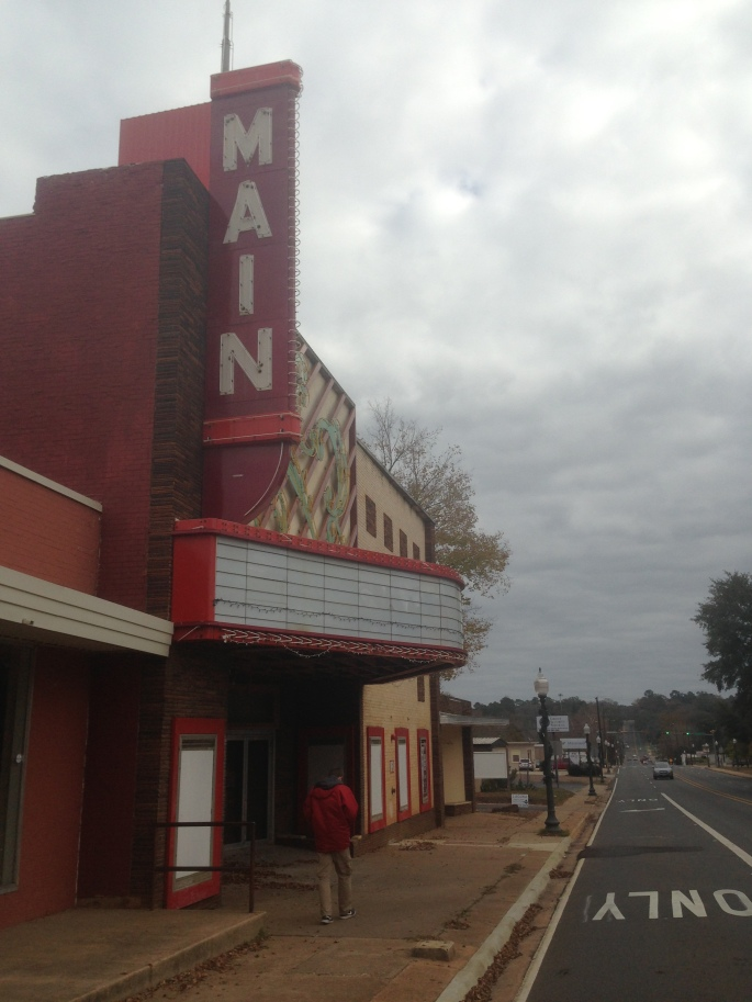 The yet-to-be-restored Main cinema on the main street in Nacogdoches is at the far end of the downtown but is easy to get to.  The town's core is fairly compact.