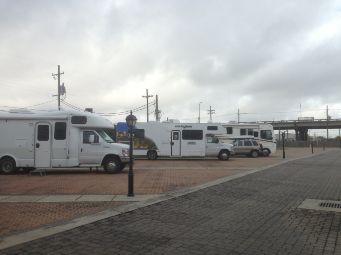 The sites at the French Quarter RV Resort in New Orleans.  Our rented RV from Cruise America in the center.