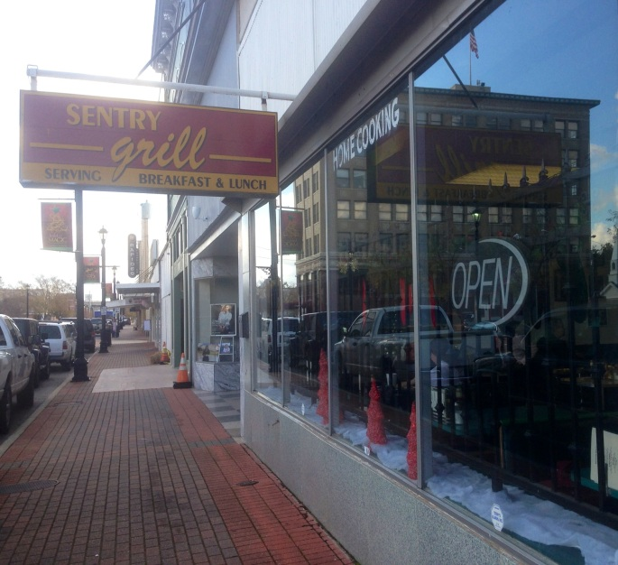 The Sentry Grill is located inside the Sentry Drug Store on Third Street in downtown Alexandria, Louisiana.