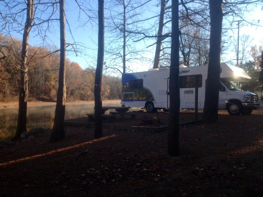 Our rented RV from Cruise America at the campsite along the Tennessee River at Beech Bend.