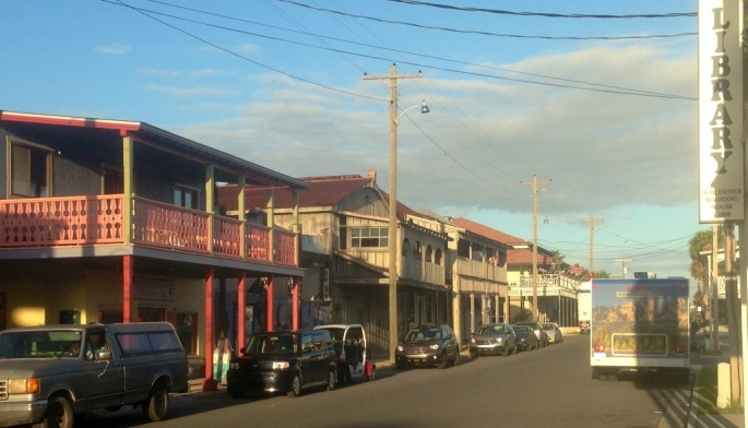 A typical street in the town of Cedar Key, Florida.