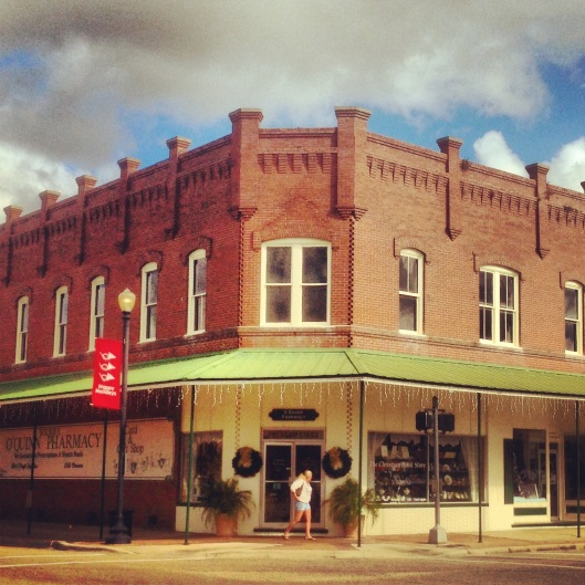 One of the interesting historic structures in downtown Perry, Florida.  This one houses an active pharmacy.