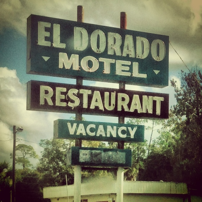 The El Dorado Motel and Restaurant sign on US 19 in Florida.