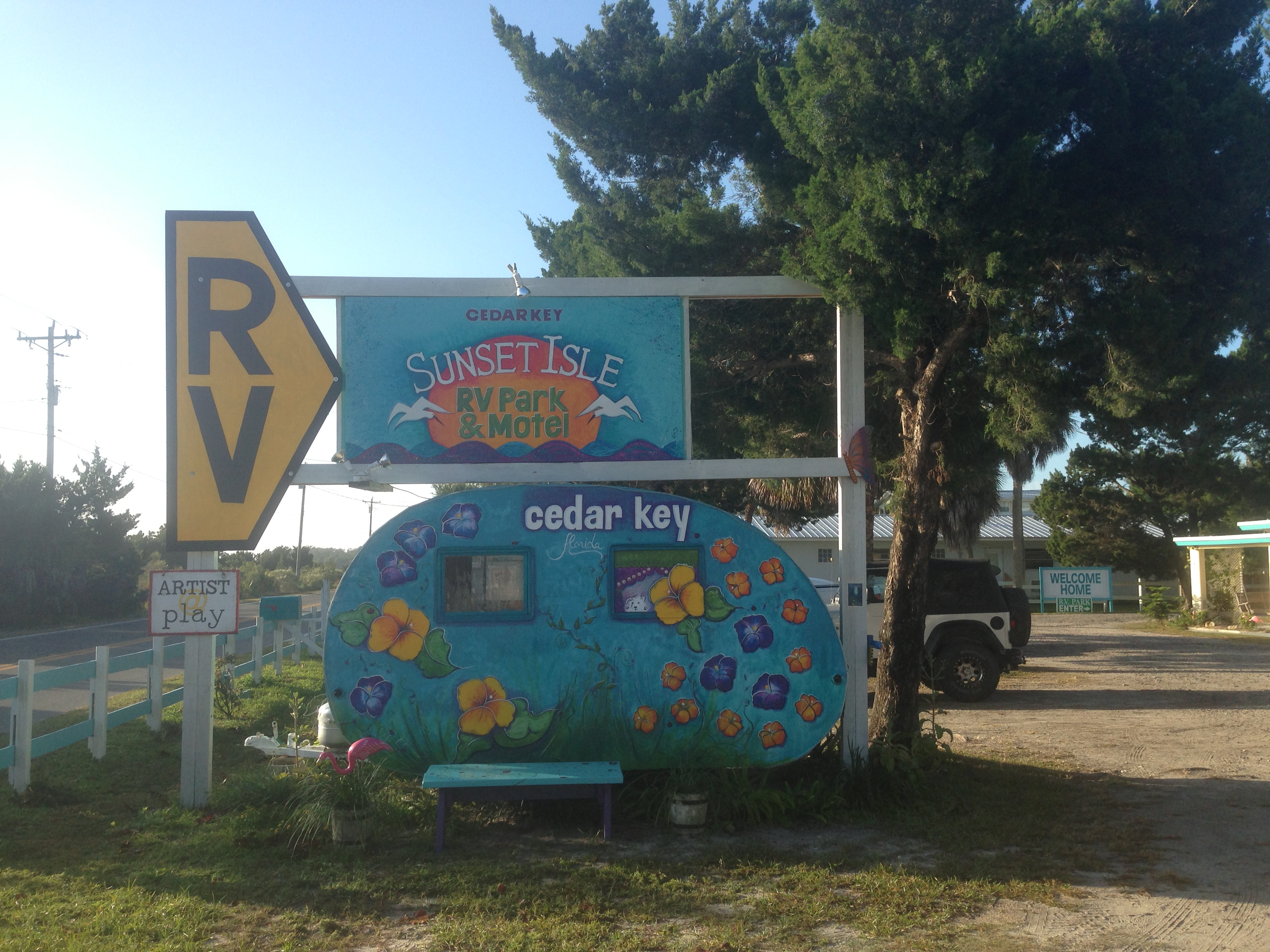 It is all fun in cedar key and this sign for the sunset isle rv park