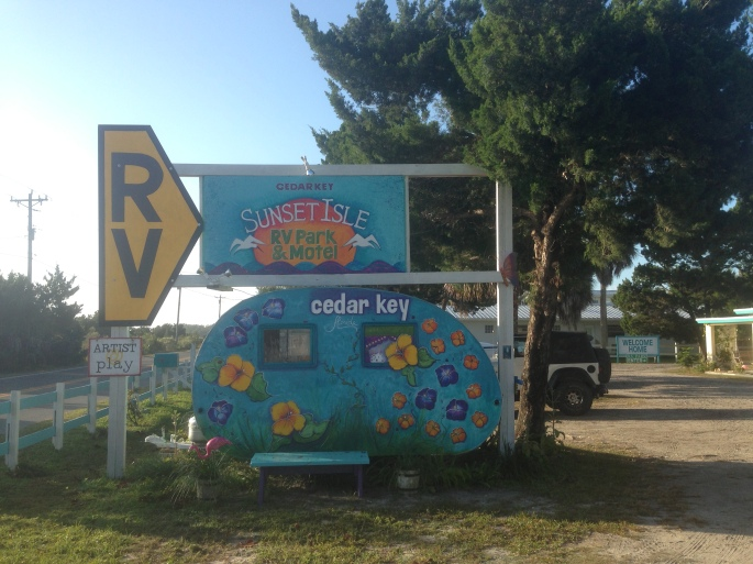 It is all fun in Cedar Key and this sign for the Sunset Isle RV Park is no different than the rest of the feel of the town.