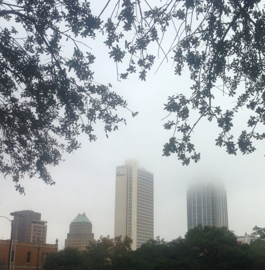 The downtown Mobile, Alabama skyline on a foggy day.