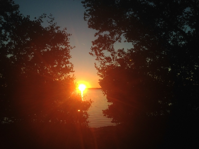 The sunset view from our camp site is priceless at Fort Desoto Park, St. Petersburg, Florida.
