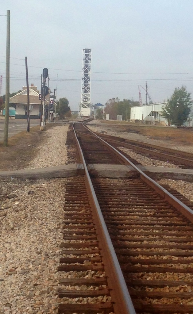 The railway line passes just to the north of downtown Pascagoula, Mississippi.