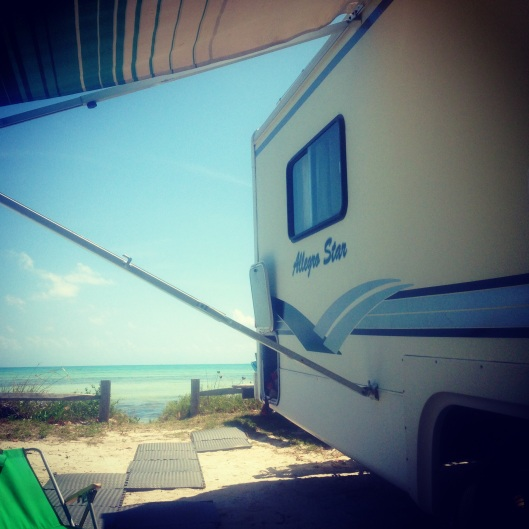 Oceanfront camping is perfect as we sit under our awning looking at the water at Long Key State Park.